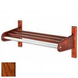 """18"""" Wood Coat Rack w/ Wood Interior Top Bars & 1"""" Hanging Rod, Dark Oak"""