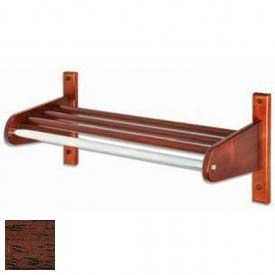 "36"" Wood Coat Rack w/ Wood Interior Top Bars & 1"" Hanging Rod, Mahogany"