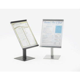 """Cal-Mil 1153-15-74 One by One 8"""" x 11"""" Metal Magnetic Sign Display 8-1/2""""W x 7""""D x 14-7/8""""H Silver"""