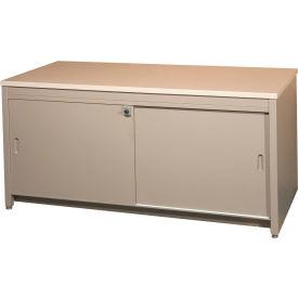 "60""W Console Table w/ Doors, Desert Dusk Laminate Top Medium Gray Finish"
