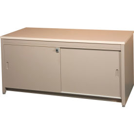 "84""W Console Table w/ Doors, Desert Dusk Laminate Top Medium Gray Finish"