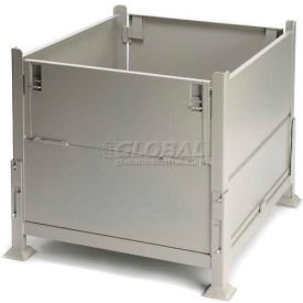 """Davco KD2GS-01 Collapsible Sheet Metal Steel Container 40-1/2""""x34-1/2""""x32"""" 2 Gates Zinc-Galv"""