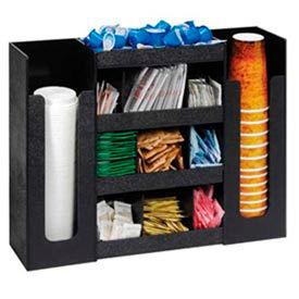 Dispense Rite Cup, Lid & Condiment Organizer, 6 Sections, Black - DLCO-5BT