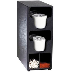Dispense-Rite® Counter Vertical Lid & Straw Organizer - 2 Sections, Black