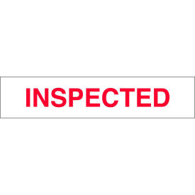 """Printed Tape """"Inspected"""" 2""""W x 110 Yds White/Red - Pkg Qty 36"""