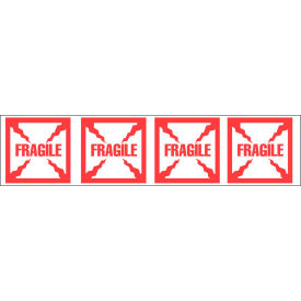 """Printed Tape """"Fragile"""" 2""""W x 110 Yds White/Red - Pkg Qty 36"""