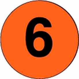"4"" Dia. Disc With #6 - Fluorescent Orange / Black"