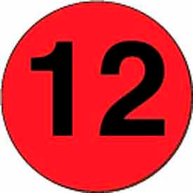 """4"""" Dia. Disc With #12 - Fluorescent Red / Black"""