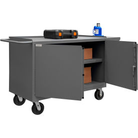 """Durham 3400-95 Mobile Bench Cabinet with 1 Shelf 66-1/8""""W x 24-1/4""""D x 37-3/4""""H - Gray"""