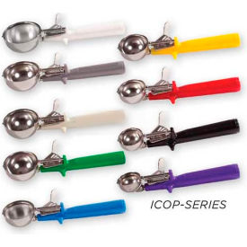 Winco ICOP-6 Disher W/ Single Piece Handle, Size #6, White - Pkg Qty 10