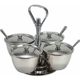 Winco RS-4 4 Unit Relish Server, Holds 4 Canisters, Stainless Steel - Pkg Qty 6