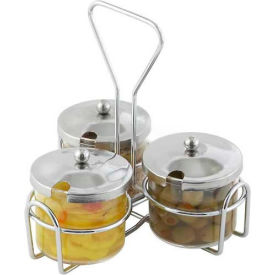"""Winco WH-4 3 Ring Condiment Jar Holder, 7-1/2""""L, 7""""W, 8""""H, Chrome Plated Wire - Pkg Qty 24"""