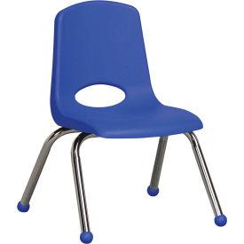 "ECR4Kids Classroom Stack Chair - 12"" - Blue - Pkg Qty 6"