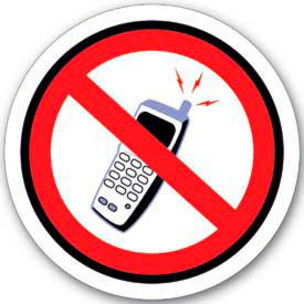 """Durastripe 12"""" Round Sign - No Cell Phones - No Text"""
