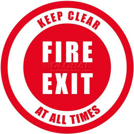 """Durastripe 12"""" Round Sign - Fire Exit Keep Clear At All Times"""