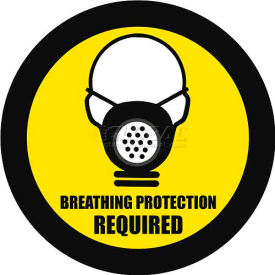 """Durastripe 16"""" Round Sign - Breathing Protection Required"""