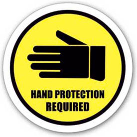 "Durastripe 16"" Round Sign - Hand Protection Required"