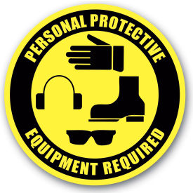 "Durastripe 16"" Round Sign - Personal Protective Equipment Required"