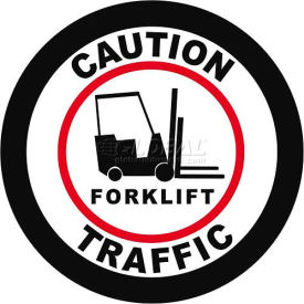 "Durastripe 30"" Round Sign - Caution Forklift Traffic"