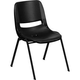 Flash Furniture Ergonomic Shell Stack Chair  - Plastic - Black - Hercules Series - Pkg Qty 4
