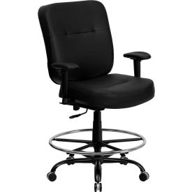 Flash Furniture Hercules Big & Tall Drafting Stool with Armrest - Leather - Black