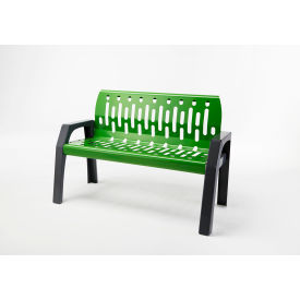 Frost Stream 4' Steel Bench, Green with Gray Frame