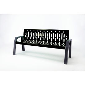 Frost Stream 6' Steel Bench, Black with Gray Frame