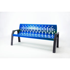 Frost Stream 6' Steel Bench, Blue with Gray Frame
