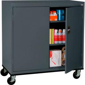 Sandusky Mobile Work Height Storage Cabinet TA2R462442 Double Door - 46x24x48, Charcoal- Pkg Qty 1