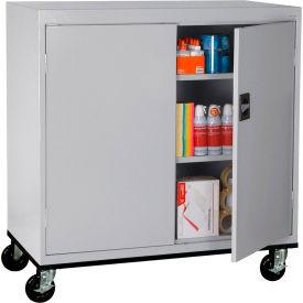 Sandusky Mobile Work Height Storage Cabinet TA2R462442 Double Door - 46x24x48, Gray- Pkg Qty 1