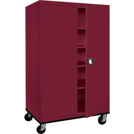 Sandusky Mobile Storage Cabinet TA4R462472 - 46x24x78, Burgundy- Pkg Qty 1