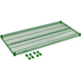 """Nexel® S2436G Green Epoxy Wire Shelf 36""""W X 24""""D with Clips"""