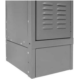 "Hallowell KCFB12HG Steel Locker Accessory, Closed Front Base 12""W x 6""H - Dark Gray"