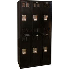 Hallowell U3282-2ME Black Tie Locker Double Tier 12x18x36 6 Doors Unassembled, Black