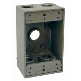 """Hubbell 5322-0 Single Gang Weatherproof Box 5-1/2"""" Outlets Gray - Pkg Qty 20"""