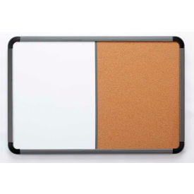 """Iceberg Combo Dry Erase/Cork Board with Blow Mold Frame, 36""""W x 24""""H - Charcoal- Pkg Qty 1"""