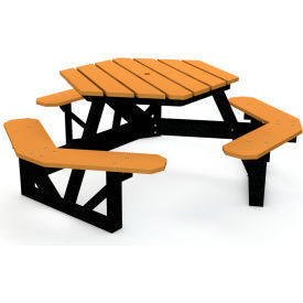 Groovy 6 Ft Recycled Plastic Hex Picnic Table With Black Frame Cedar Forskolin Free Trial Chair Design Images Forskolin Free Trialorg