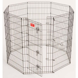 "Lucky Dog Heavy Duty Dog Exercise Pen With Stakes 24""W x 48""H, Black"