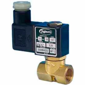 "Jefferson Valves, 1/4"" 2 Way Solenoid MicroValve 120V AC Forged Brass Compact Body"