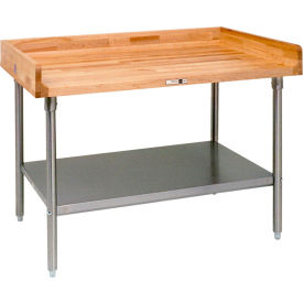 """John Boos DNS16  84""""W x 36""""D  Maple Top Table with Galvanized Legs and Shelf"""