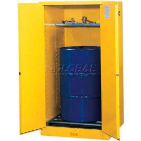 Justrite® Drum Cabinet 55 Gal. Capacity Vertical Manual Close Hazmat Flammable W/ Drum Rollers