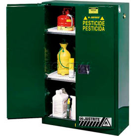 """Justrite 90 Gallon 2 Door, Self-Close, Pesticide Cabinet, 43""""W x 34""""D x 65""""H, Green- Pkg Qty 1"""