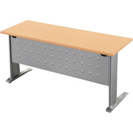 """RightAngle Training Table with L-Leg - 24"""" x 60"""", Mahogany Top w/Silver Base - R-Style Series"""