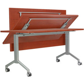 """RightAngle Flip Training Table w/ Casters 24"""" x 72"""", Cherry w/Silver Base - R-Style Series"""