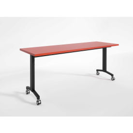 "RightAngle Flip Training Table w/ Casters 30"" x 72"", Cherry w/Black Base - R-Style Series"