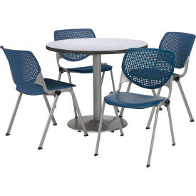 """KFI Dining Table & Chair Set - Round - 36""""W x 29""""H - Navy Plastic Chairs with Gray Nebula Table"""