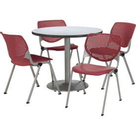 "KFI Dining Table & Chair Set - Round - 36""W x 29""H - Burgundy Plastic Chair with Gray Table"