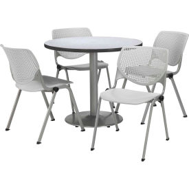 """KFI Dining Table & Chair Set - Round - 36""""W x 29""""H - Light Gray Plastic Chairs w/ Gray Nebula Table"""