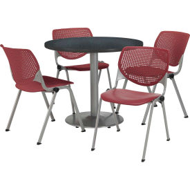 "KFI Dining Table & Chair Set - Round - 36""W x 29""H - Burgundy Plastic Chair with Graphite Table"