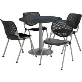 """KFI Dining Table & Chair Set - Round - 36""""W x 29""""H - Black Plastic Chair with Graphite Table"""
